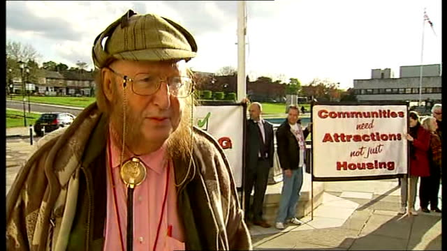 campaign to save walthamstow dog stadium england london waltham forest town hall ext reporter to camera john mccririck interview sot only one... - john mccririck stock videos & royalty-free footage