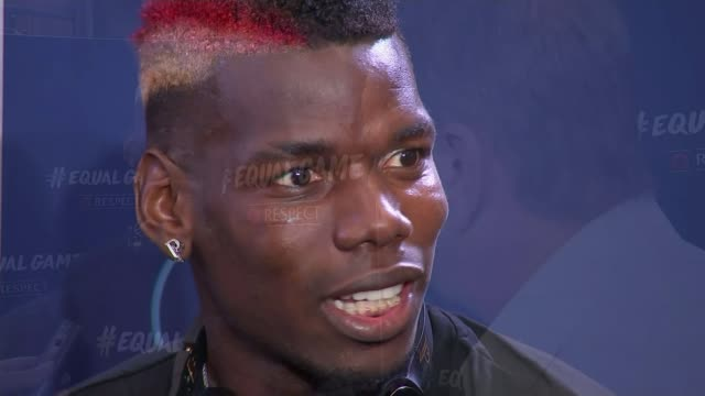 campaign to tackle rise in homophobic abuse england london int paul pogba during interview paul pogba interview sot on not judging people all equal - homophobie stock-videos und b-roll-filmmaterial