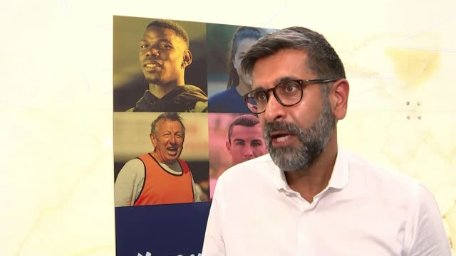 campaign to tackle rise in homophobic abuse; piara power interview sot paul pogba posing with others for equal game photocall pogba along 'equal'... - omofobia video stock e b–roll