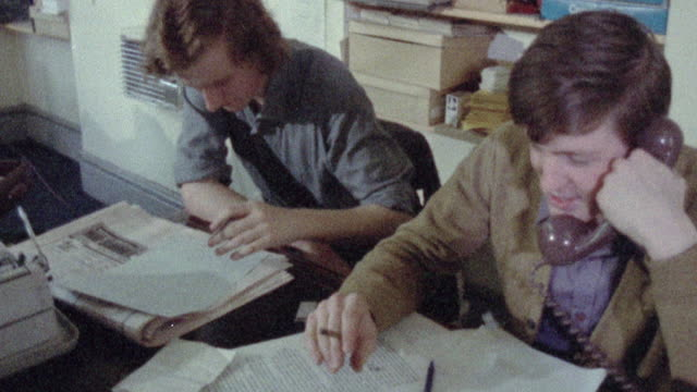 1973 MONTAGE Campaign workers working in an office / Northern Ireland