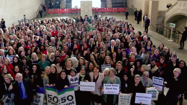 Campaigners mark one hundred years since women given right to stand for Parliament ENGLAND London Westminster Westminster Hall Various of women at...