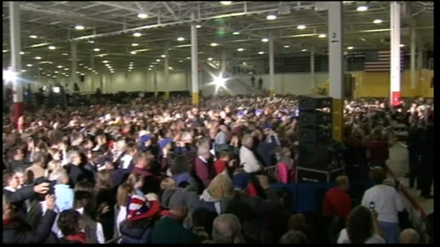 campaigning for us presidential election continues wide shot crowd of people pan romney on stage - 2012 united states presidential election stock videos & royalty-free footage