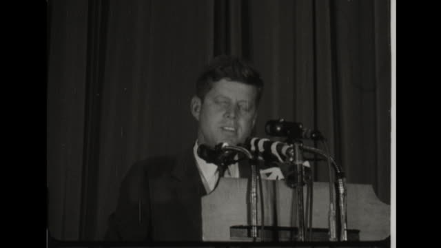 stockvideo's en b-roll-footage met campainging senator john f kennedy to the national council of women new york new york - john f. kennedy