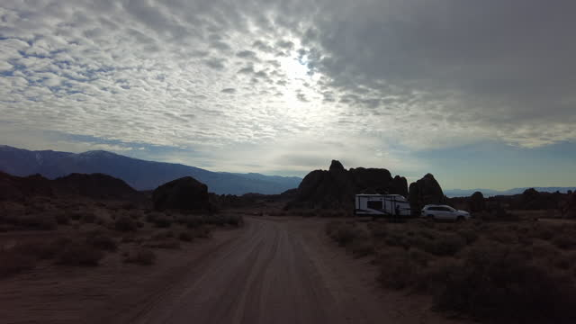 rv camped in alabama hills on march 18, 2021 - californian sierra nevada stock videos & royalty-free footage