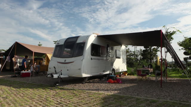 camper trailer at kt&g sangsangmadang (cultural space & camping site) in nonsan, south korea - grounds stock videos & royalty-free footage