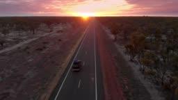 Camper van traveling the Australian desert