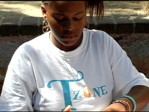 Campers at the Tyra Banks' TZONE Camp Media Day at Scripps College in Claremont California on July 21 2005