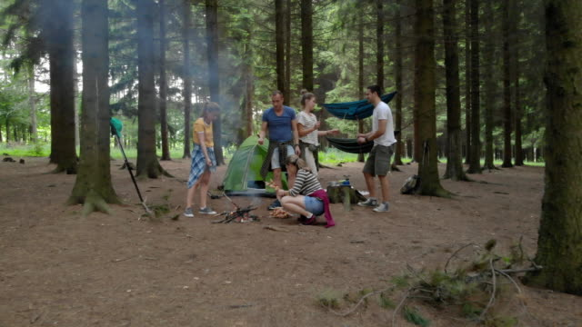 campers preapring food on stick for campfire - tenda video stock e b–roll