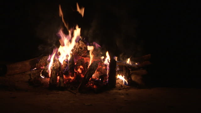 A campfire burns in an open field. Available in HD