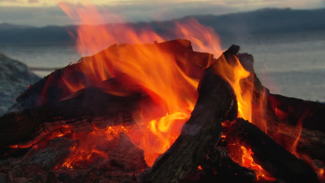 A campfire burns near a sea.