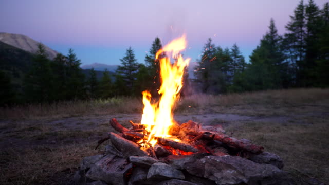 vídeos y material grabado en eventos de stock de fogata en el bosque al atardecer - hoguera de campamento