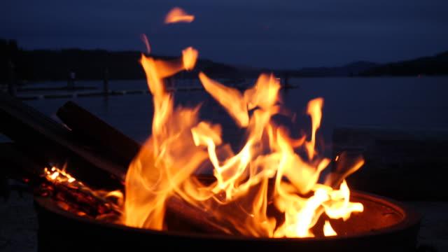 campfire next to a lake - marshmallow video stock e b–roll