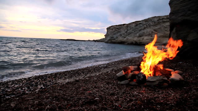 campfire on the beach - camp fire stock videos & royalty-free footage