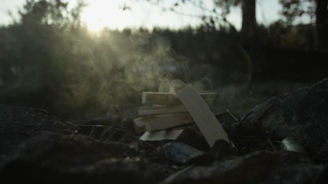 campfire smoking - hammock stock videos & royalty-free footage