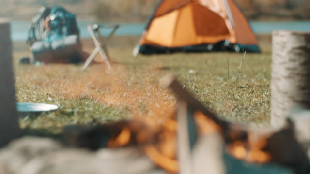 campfire - tent stock videos and b-roll footage