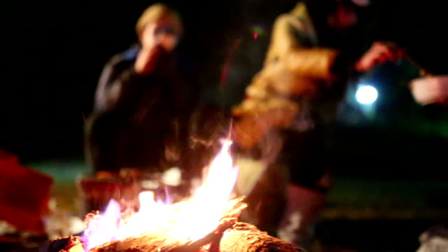 Campfire with Unrecognizable People background