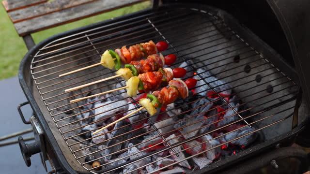 バーベキューストーブでのバーベキューグリルのキャンプと調理 - キャンプ用ストーブ点の映像素材/bロール