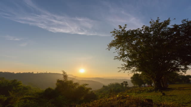 Camping and sunrise at national park of Thailand, Time-lapse