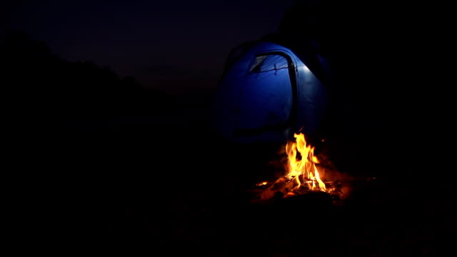 hd dolly: camping at night - tent stock videos and b-roll footage