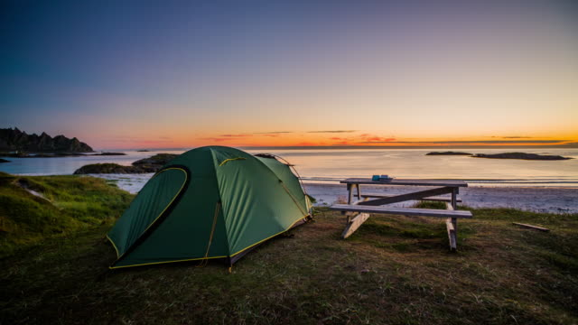 camping at the nordic coastline of norway, scandinavia - tent stock videos and b-roll footage