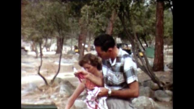 stockvideo's en b-roll-footage met 1955 camping breakfast - sequoia national park