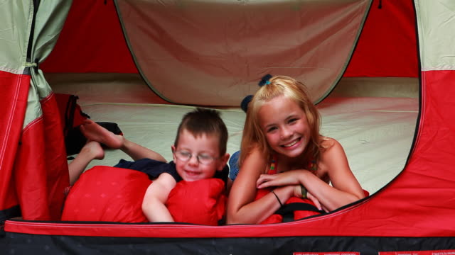 camping children - brother stock videos & royalty-free footage