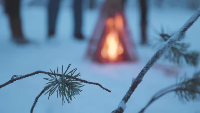 vídeos de stock, filmes e b-roll de incêndio em acampamento na lapônia suécia - cultura sueca