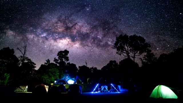 tl ld camping group under the amazing milky way on sky. travel outdoor activity concept. - geographical locations stock videos & royalty-free footage