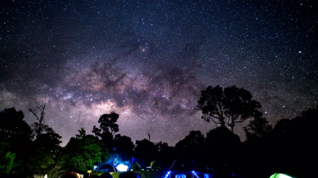 td tl camping group under the amazing milky way on sky. travel outdoor activity concept. - tilt down stock videos & royalty-free footage