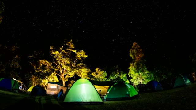 TL LD Camping group under the amazing star on sky. Travel outdoor activity concept.