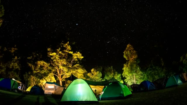 TL TU Camping group under the amazing star on sky. Travel outdoor activity concept.