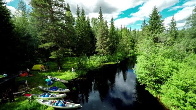 AERIAL: Camping in the Wilderness - Canoeing Sweden