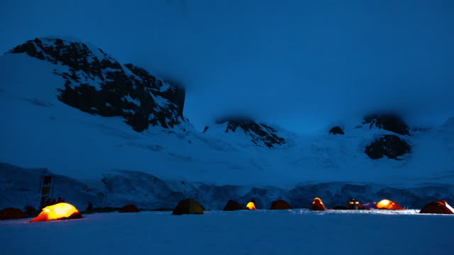 camping on a glacier in antarctica - tent stock videos & royalty-free footage
