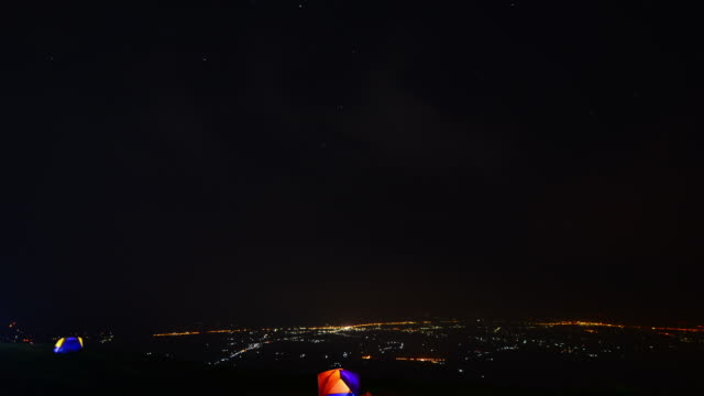 Camping on mountain at night