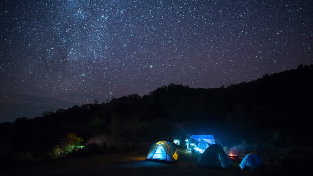 Camping on the mountain with star and milky way Time Lapse