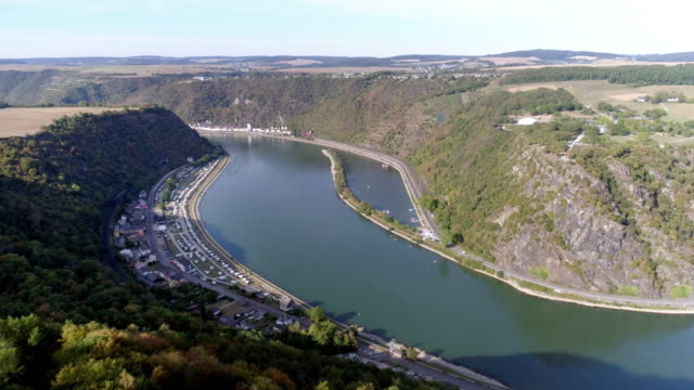 camping tourism at the feet of the lorelei rock above the rhine river - river rhine stock videos & royalty-free footage