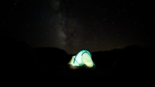 camping under the milky way in the buttermilk range, eastern sierra, ca. - tent stock videos and b-roll footage