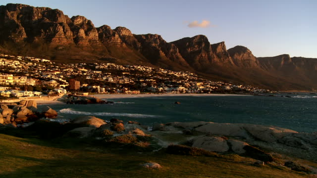 T/L WS Camp's Bay and Twelve Apostles mountains, day to dusk, Cape Town, Western Cape Province, South Africa
