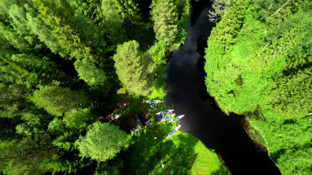 AERIAL: Campsite in the Wilderness