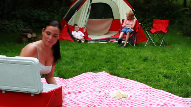campsite pic nic - cooler container stock videos & royalty-free footage
