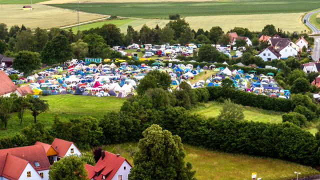 campsite time lapse aerial view - camping stock-videos und b-roll-filmmaterial
