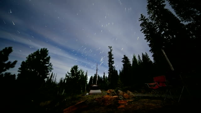 Campsite with Tents and Chairs Near a Road in the Forest Abstract Star Trails Night Time Lapse