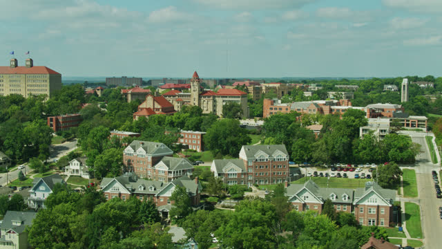 ku campus in lawrence, kansas - aerial - kansas stock videos & royalty-free footage