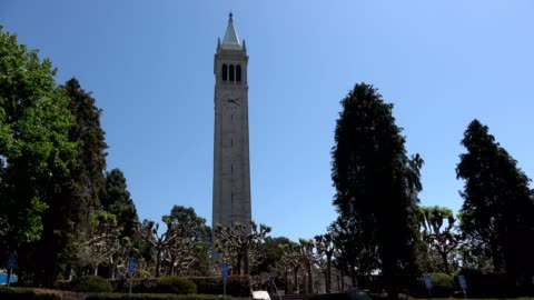 campus of uc berkeley and sather tower, aka the campanile, in berkeley, california on a sunny day, may 21, 2018. - smith tower stock-videos und b-roll-filmmaterial