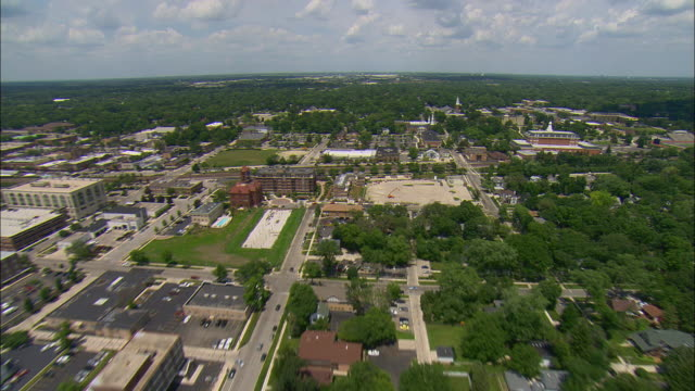 aerial campus of wheaton college at wheaton, illinois, usa - dupage county stock videos & royalty-free footage