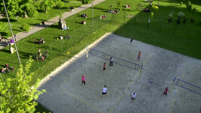 aerial campus sports field - volleyball sport stock videos & royalty-free footage