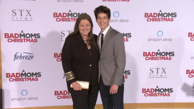 """camryn manheim and milo jacob manheim at the """"a bad moms christmas"""" premiere at regency village theatre on october 30, 2017 in westwood, california. - camryn manheim stock videos & royalty-free footage"""