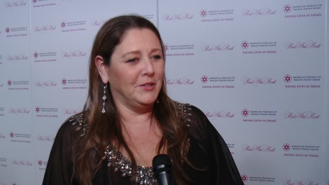 camryn manheim on being at the event, supporting afmda, why it's important at american friends of magen david adom's red star ball at the beverly... - camryn manheim stock videos & royalty-free footage