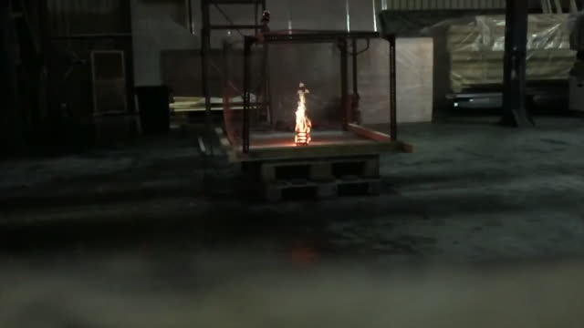 A can of butane gas exploding after being exposed to fire in a controlled experiment