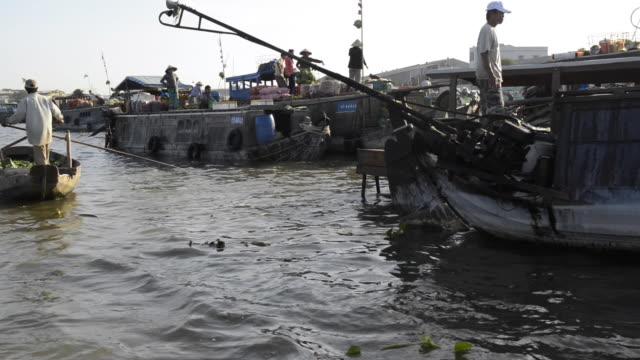 can tho floating market, mekong delta, vietnam - mekong delta stock videos & royalty-free footage